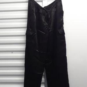 JOHNNY WAS satin cargo black pants sz. XL